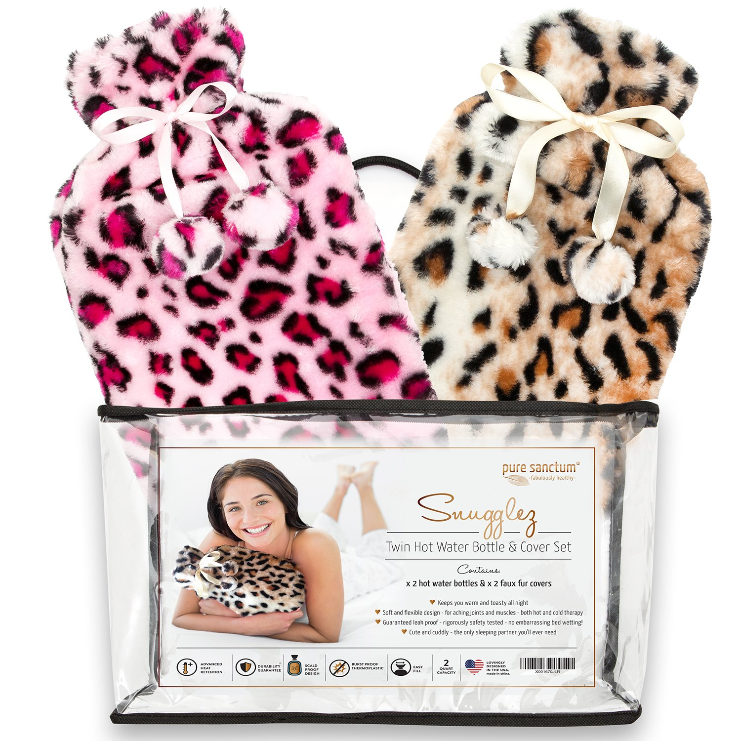 Hot Water Bottle & Cover - Set of 2 Hot Water Bottles & Furry Animal Print Covers for Hot & Cold Relief – Meet Snugglez