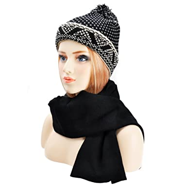 ed5783c123024 ZLYC Womens Teens Winter Warm Pompom Beanie Hat Skull Cap and Scarf ...