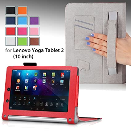 For Lenovo Yoga Tablet 2 10-inch with Sleep/Awake Function, QUALITY PU LEATHER FOLIO PROTECTIVE SMART CASE, COVER, STAND with MICROFIBER INNER, STYLUS ...