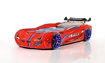 Carbed shop Cama de Coche - Flash GT Turbo Supercar Racer 91,44 cm Cama - Luces LED + Sonido - Rojo - para niños Camas: Amazon.es: Hogar