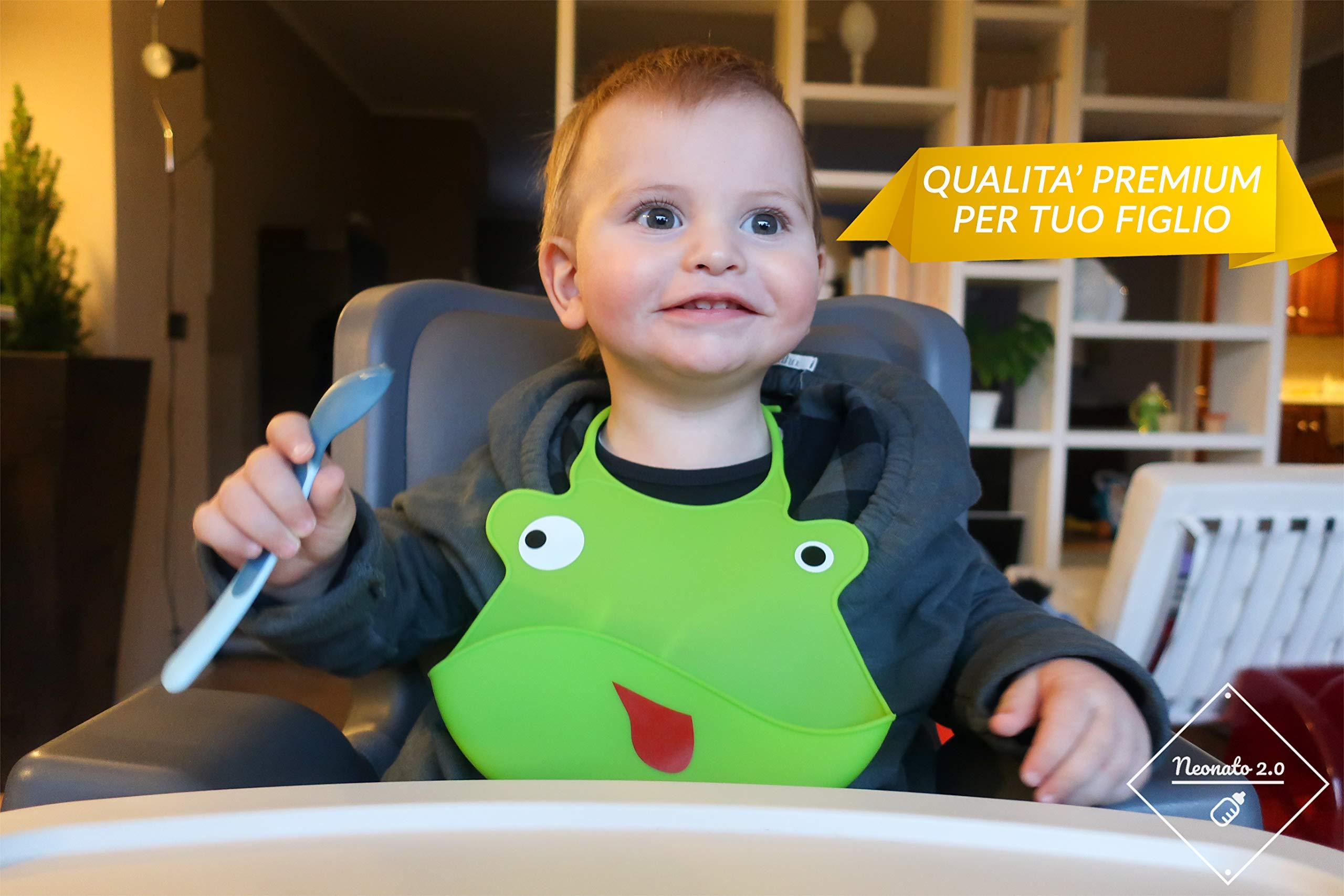 Bavaglini Neonato in Silicone Morbido con Tasca Raccogli Briciole e Pappa - Bavaglini Impermeabili per Asilo, Lavabili ed Inodori - Set 2 Bavette Neonato 2.0 Per Bambino e Bambina (Verde/Azzurro)