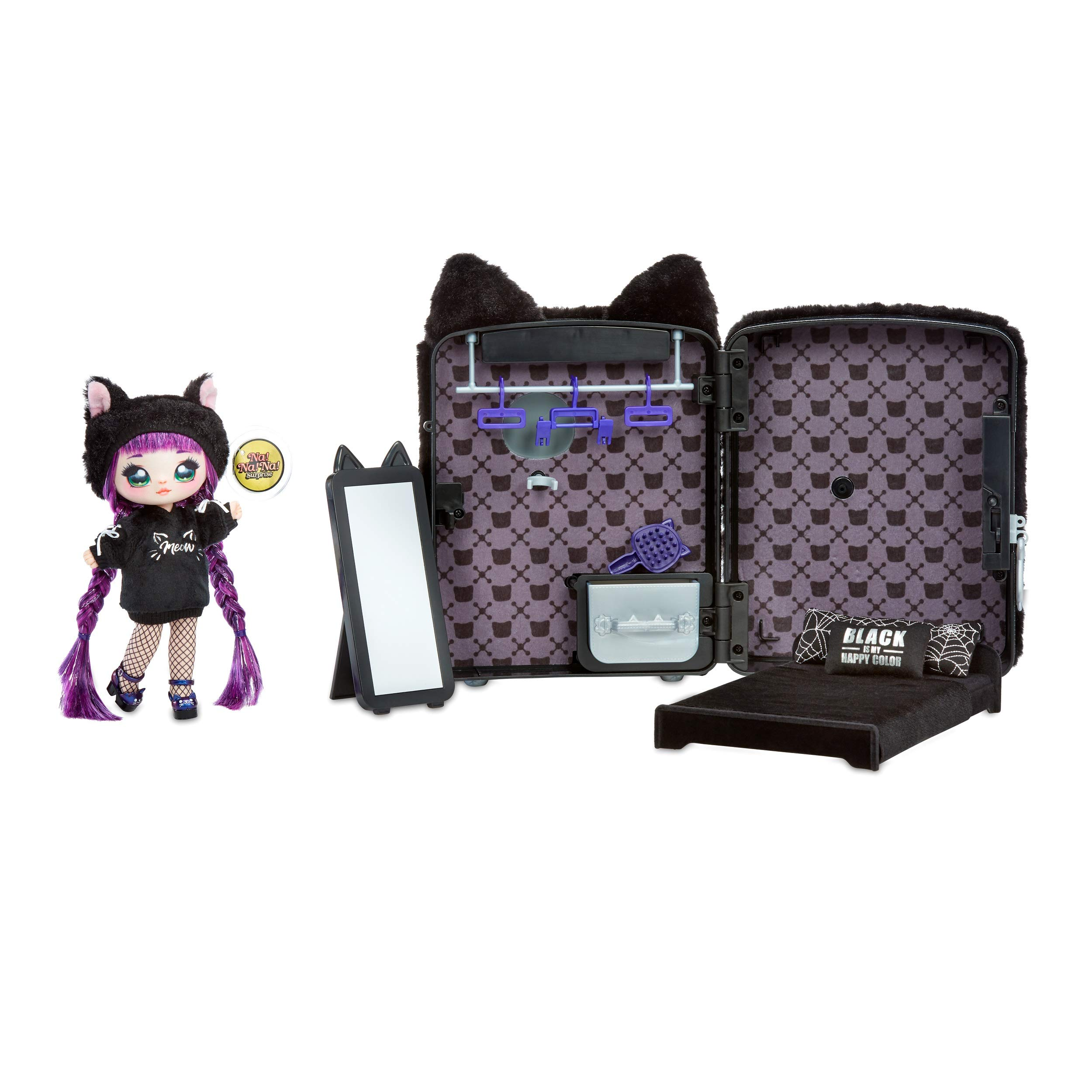 Na Na Na Surprise 3-in-1 Backpack Bedroom Playset With Fashion Doll Tuesday Meow In Exclusive Outfit | Black Fuzzy Kitty Bag, Real Mirror, Closet with Drawer, Pillows, Blanket | Kids Ages 5+