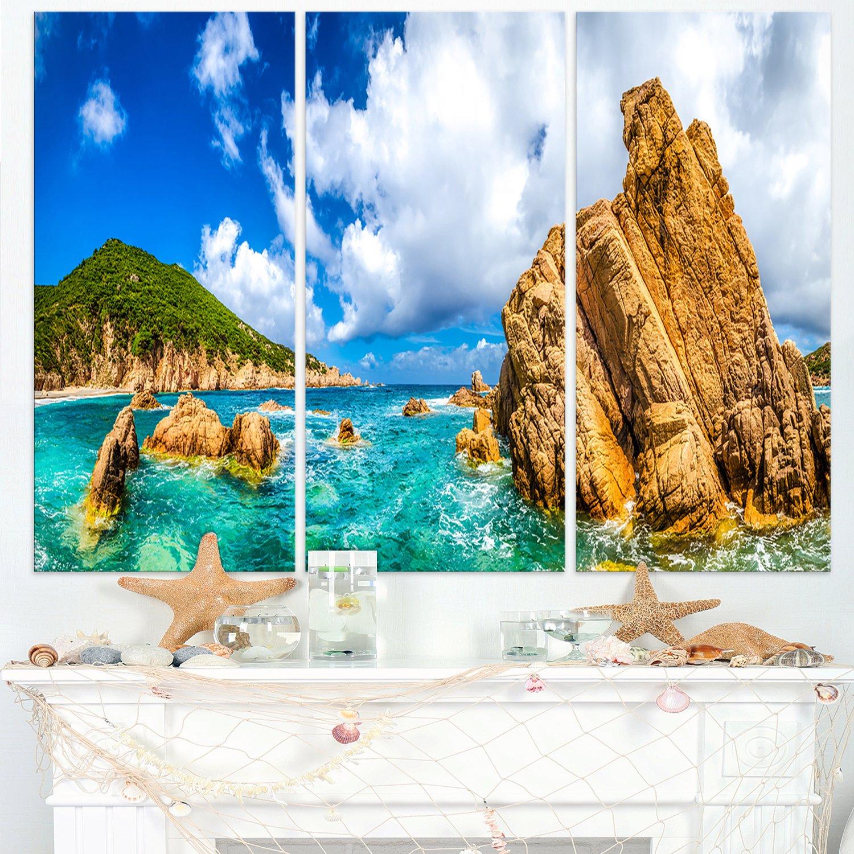 Design Art 3 Piece Costa Paradiso Close View Seashore Photo Canvas Multipanel Art Print 36 X 28 Blue Amazon In Home Kitchen
