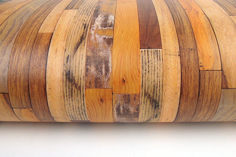 Papier peint mural autocollant - Bois blanchi vintage - 50 cm X 3 m - Epaisseur de 0,15 mm - Etanche - PPVC - Amovible - Pour cuisine, chambre, salon, salle de bain, é tagè re, enL_WoodPanenL_V_White_1P étagère enLavish
