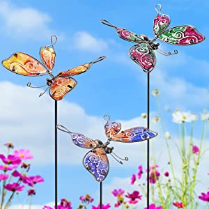 Juegoal Set of 3 Butterfly Garden Stakes Decor, 30 Inch Colorful Butterflies Stake, Glass & Metal Weather Resistant Yard Art Ornaments, Indoor Outdoor Lawn Pathway Patio Plant Pot, Flower Bed