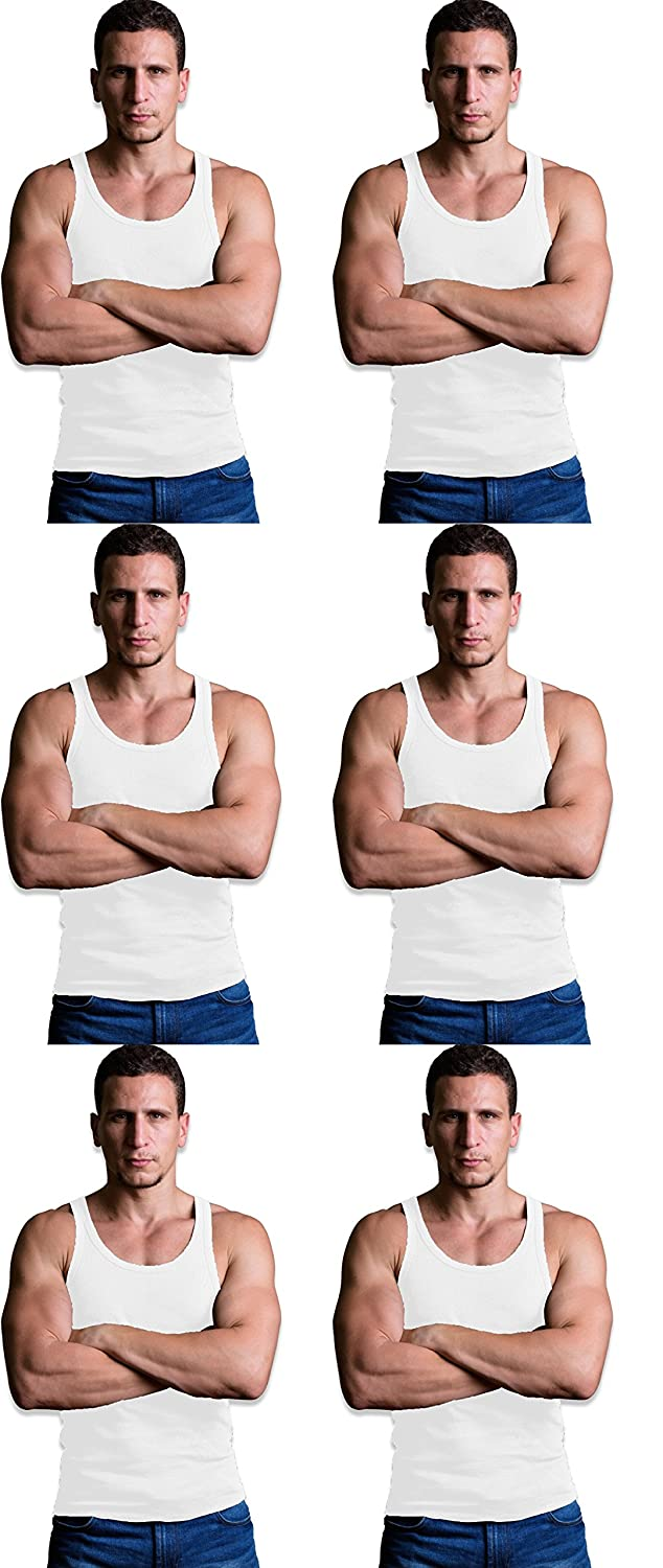 Andrew Scott Men's 6 Pack Big & Tall Man Extra Tall Long Color Tank Top A Shirt 77396