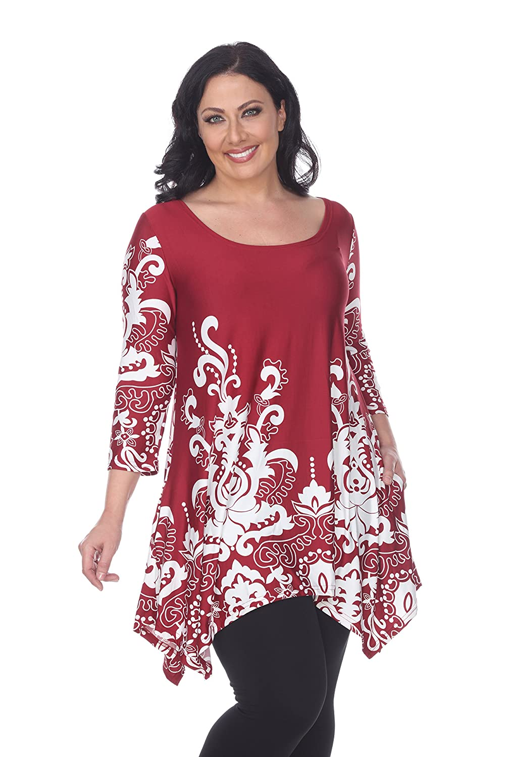 eefbb542237 White Mark Women's Plus Size Yanette Paisley Floral Tunic Top at Amazon  Women's Clothing store: