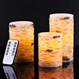 """Bingolife Real Wax Birch Bark Effect Flameless LED Candles 4"""" 5"""" 6"""" with Remote Control & Timer"""