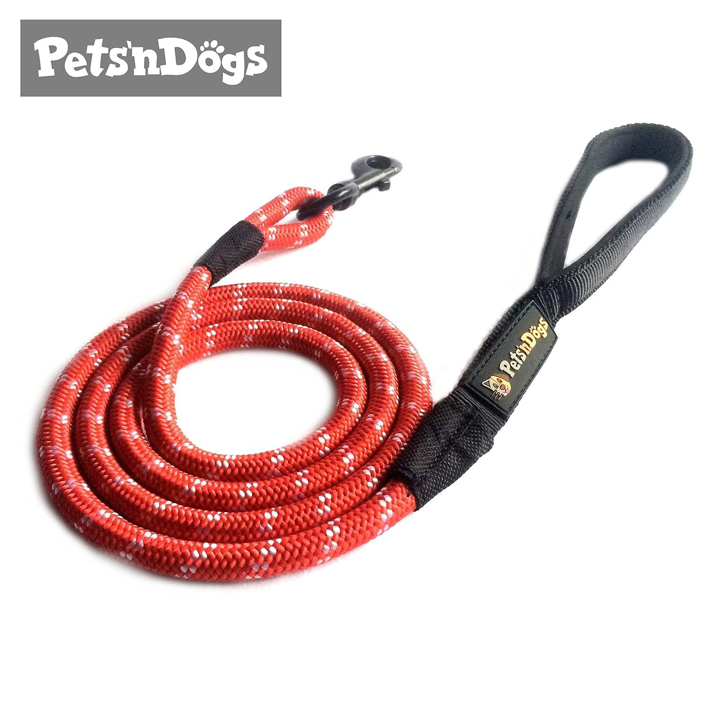 Sportive Hunde-Leine aus Profi-Kletterseil inkl. 2 Gratis-Booklets | Sehr leicht (ca.125g) | Softe Neopren-Handschlaufe | Pets'nDogs Pets'nDogs