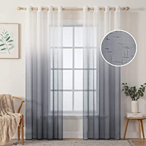 MIULEE Sheer Curtains Ombre Linen Textured Semi Sheer Window Curtain Panels for Living Room/Bedroom Farmhouse Grommet Voile Drapes for Home Decor 2 Panels 54 x 72 inch, White to Grey