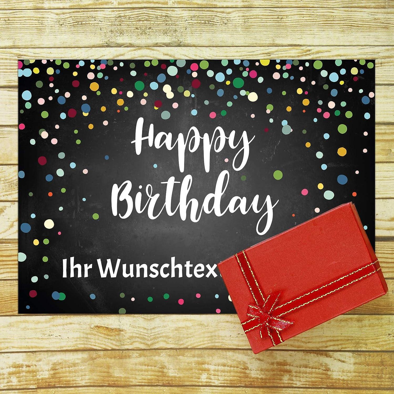 PERSONALISIERTE XXL Geburtstagskarte mit Umschlag Happy Birthday Konfetti Look schwarz anpassbar /Übergro/ße Klappkarte mit Ihrem Text