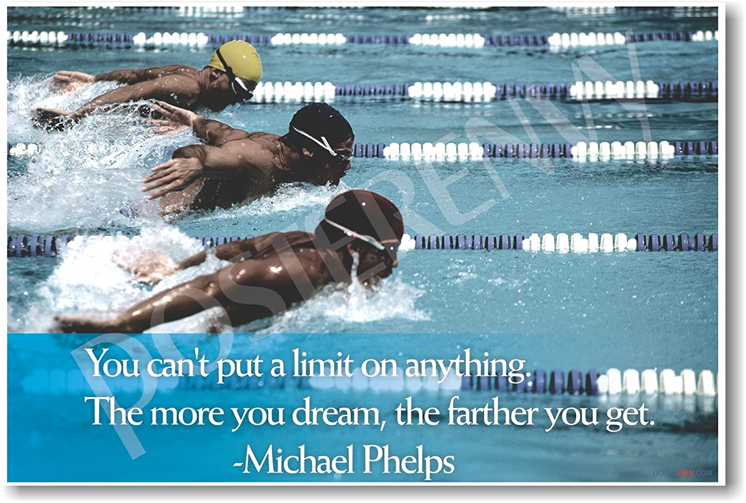 Amazon.com: The More You Dream   Michael Phelps Quote   Motivational  Classroom Poster: Office Products