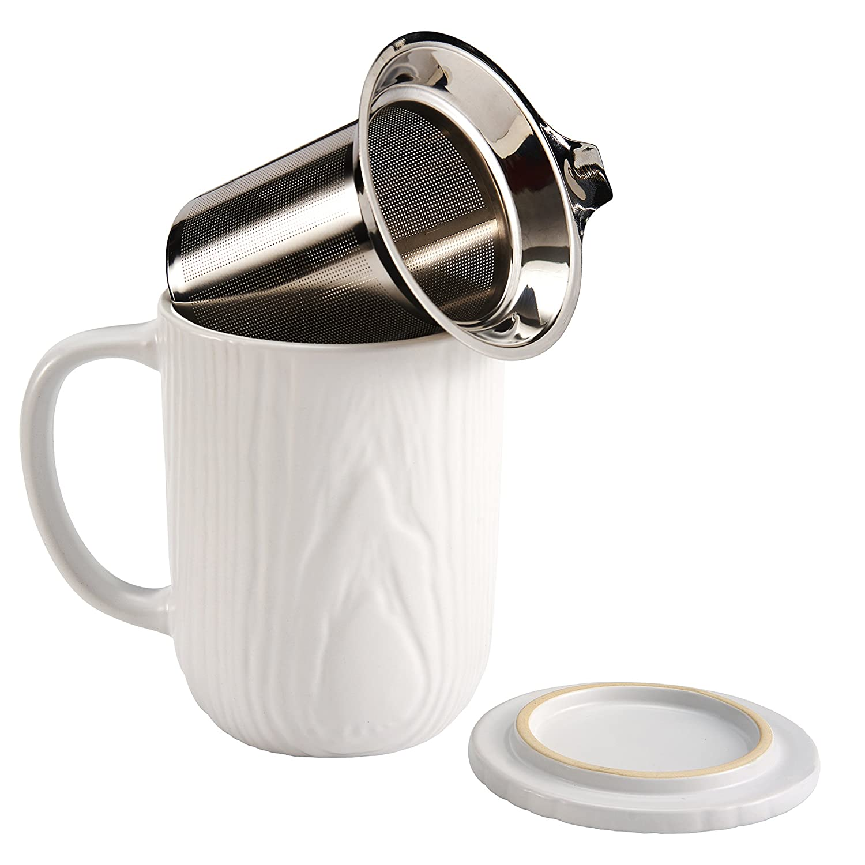casaWare Stoneware Tilt & Drip Tea Infuser Mug, Woodgrain White 18-Ounce T4-1WO