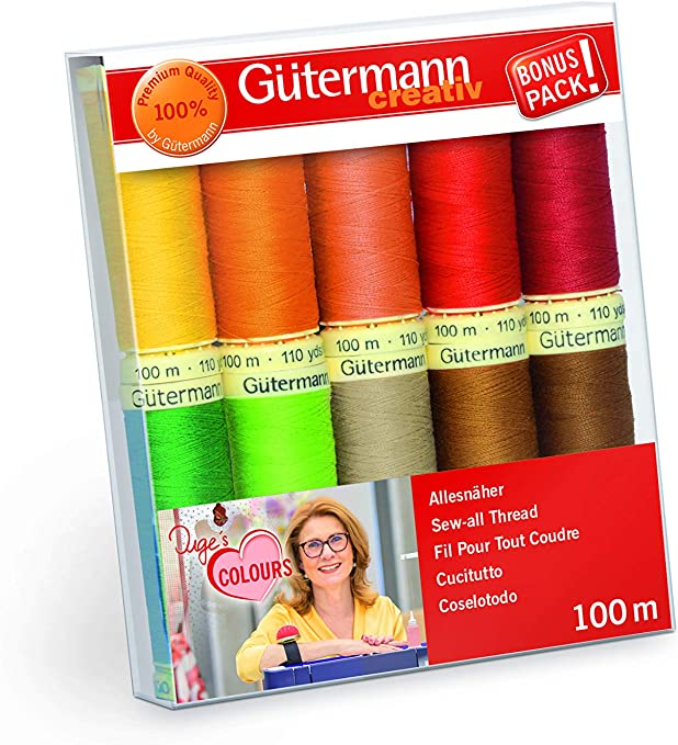 Gutermann Sew All Thread Set BLACK /& WHITE Crafts Sewing 7 Reels 100m