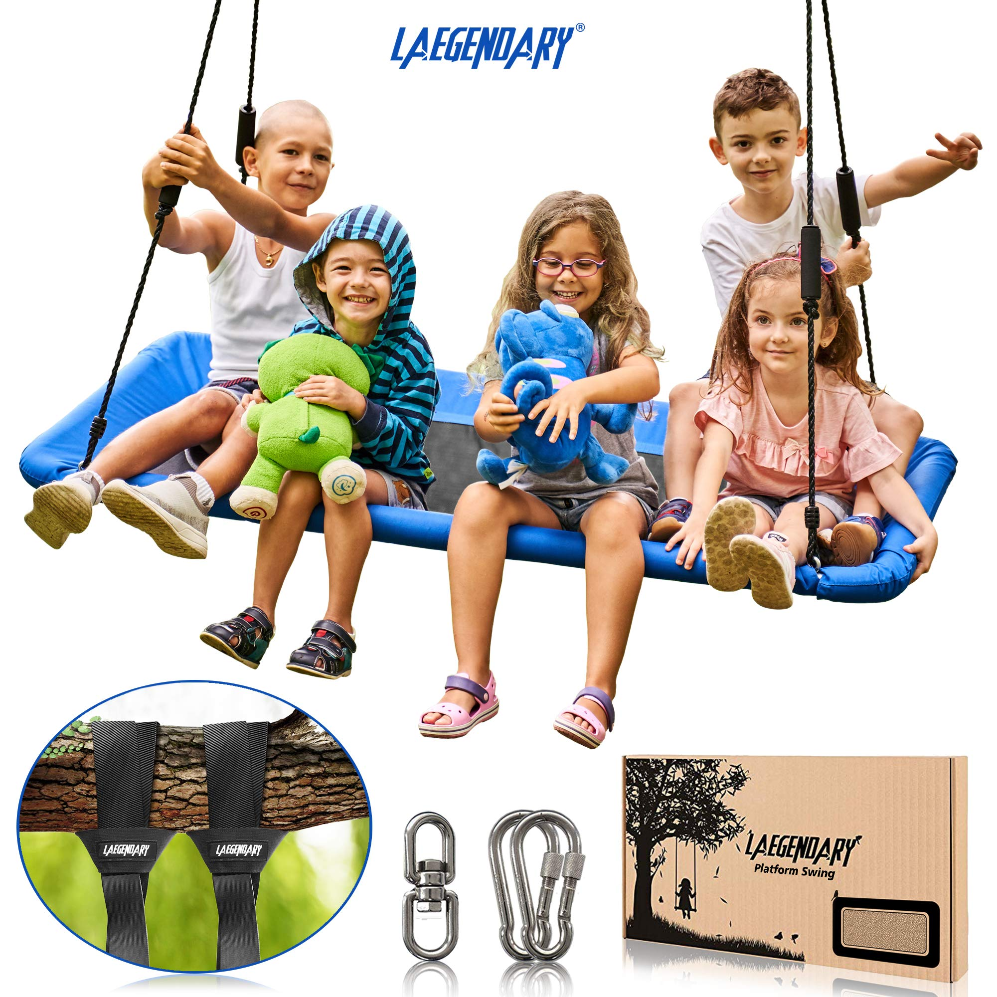 60'' Giant Platform Tree Swing for Kids and Adults | Flying Outdoor Indoor Saucer Hammock | Surf Tire Swingset Accessories Toys | 2 Tree Straps, 2 Carabiners, 1 Swivel | 600 Lb Capacity Yard Swings Set by LÆGENDARY (Image #1)