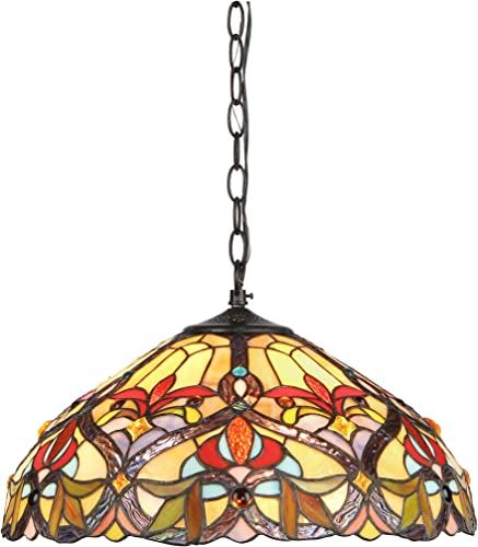 Chloe Lighting CH33352VR18-DH2 Tiffany-Style Victorian 2 Light Ceiling Pendant Fixture 18-Inch Shade, Multi-Colored