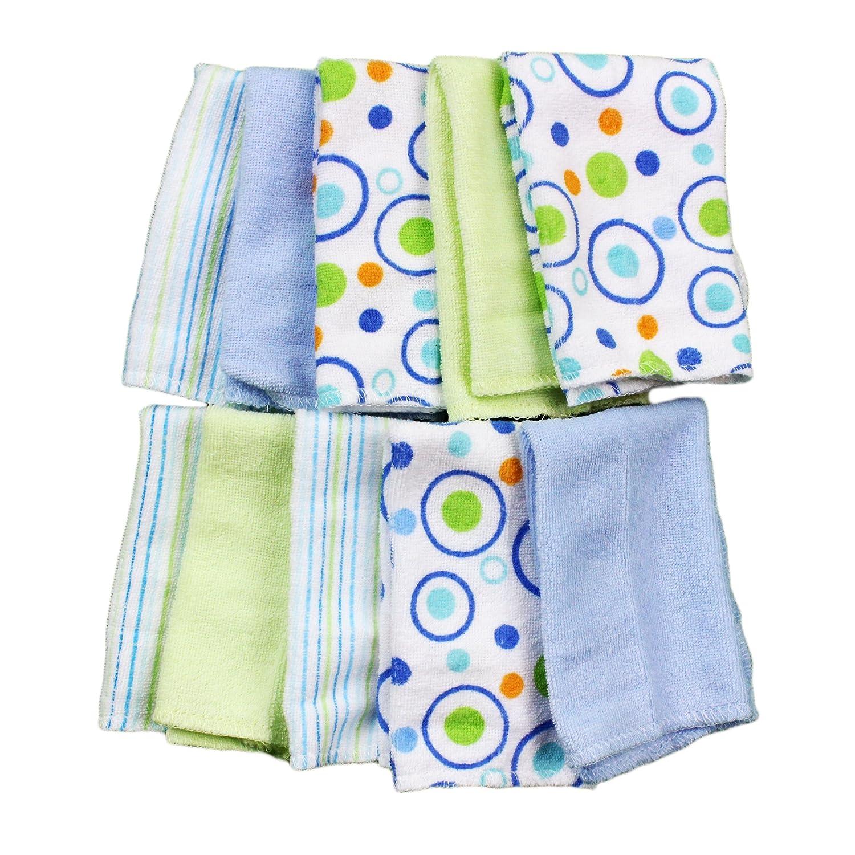 Spasilk Washcloths, Blue, 0-36 Months, 10-Count 010-BLU