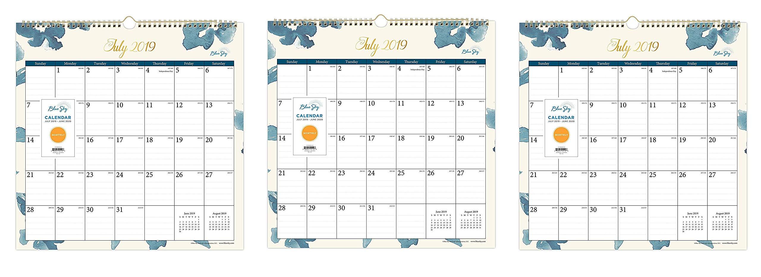 Blue Sky 2019-2020 Academic Year Monthly Wall Calendar, Twin Wire Binding, 12'' x 12'', Bakah Blue (Тhrее Pаck) by Blue Sky