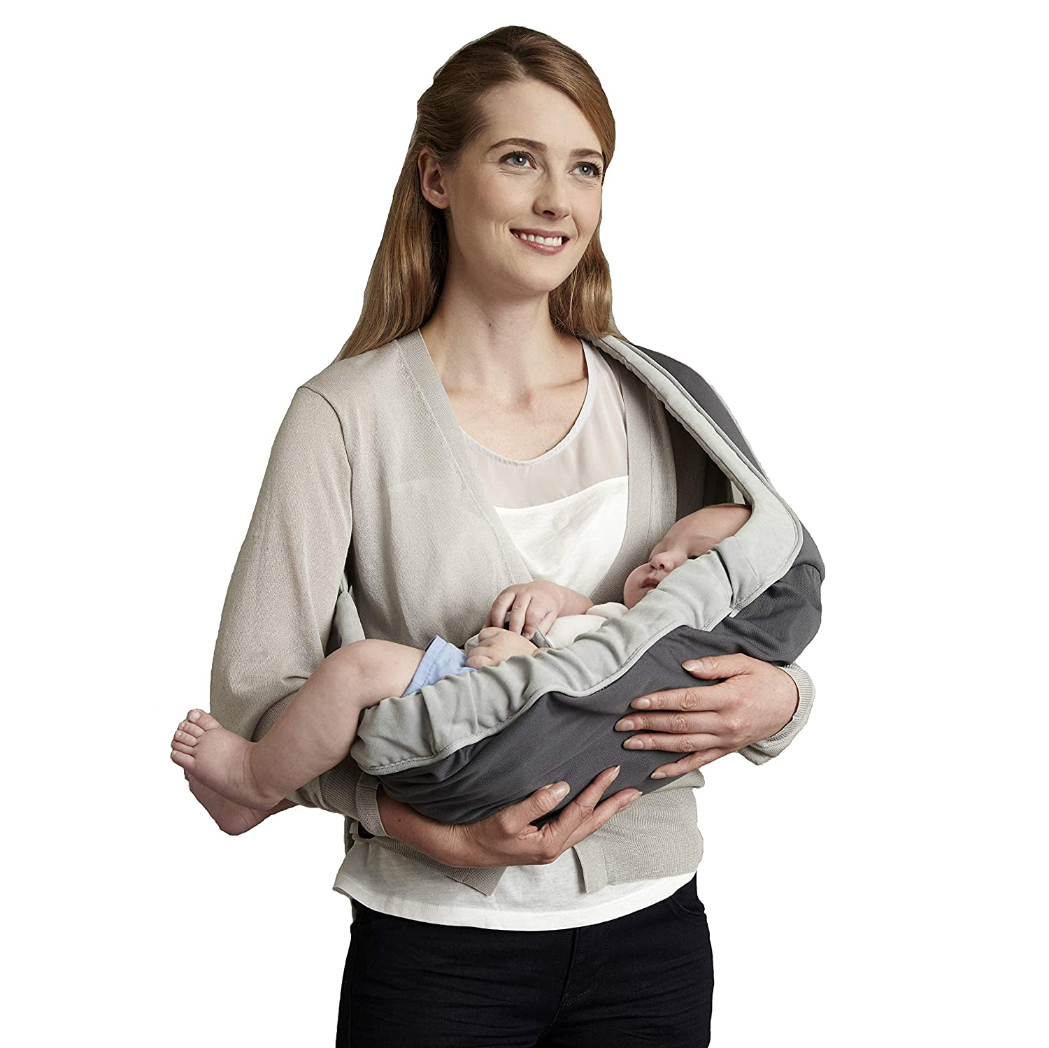 Baby Carrier Sling with Single Shoulder Strap,Breathable Stretchy Mesh Design,Perfect Position for Discrete Nursing,Adapt to Newborn Infants and Toddler 6-15kg Grey