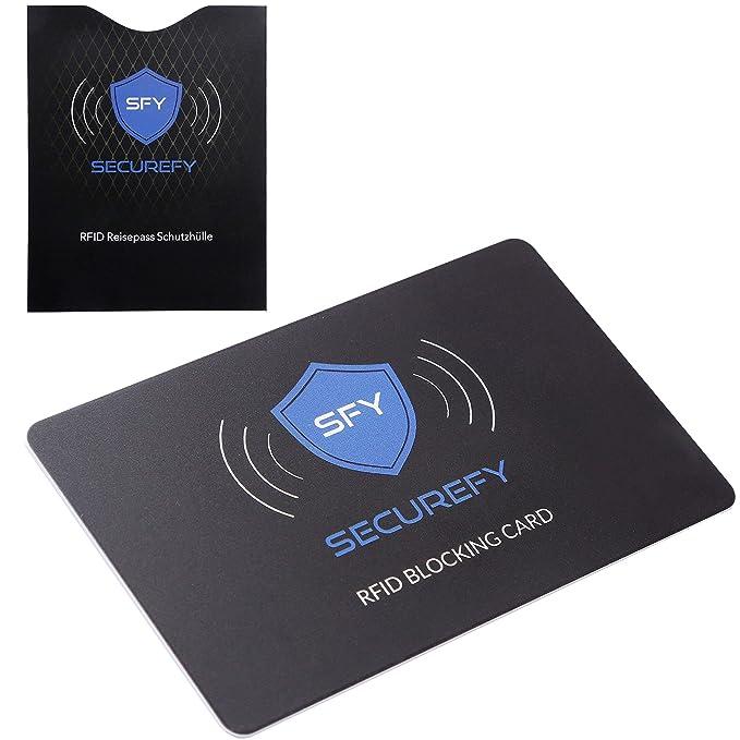 SECUREFY® RFID Tarjeta de bloqueo +Tarjeta de viaje RFID gratuita - Funda protectora - Sólo una tarjeta de protección protege toda su billetera contra ...