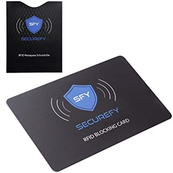 SECUREFY® RFID Blocking Card + Gratis RFID REISEPASS SCHUTZHÜLLE U2013 Nur Eine  Einzige Schutzkarte Schützt