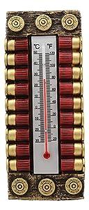Ebros Western 12 Gauge Shotgun Shell Ammo Bullet Magazine Indoor Wall Thermometer Hanging Plaque Figurine 7.5