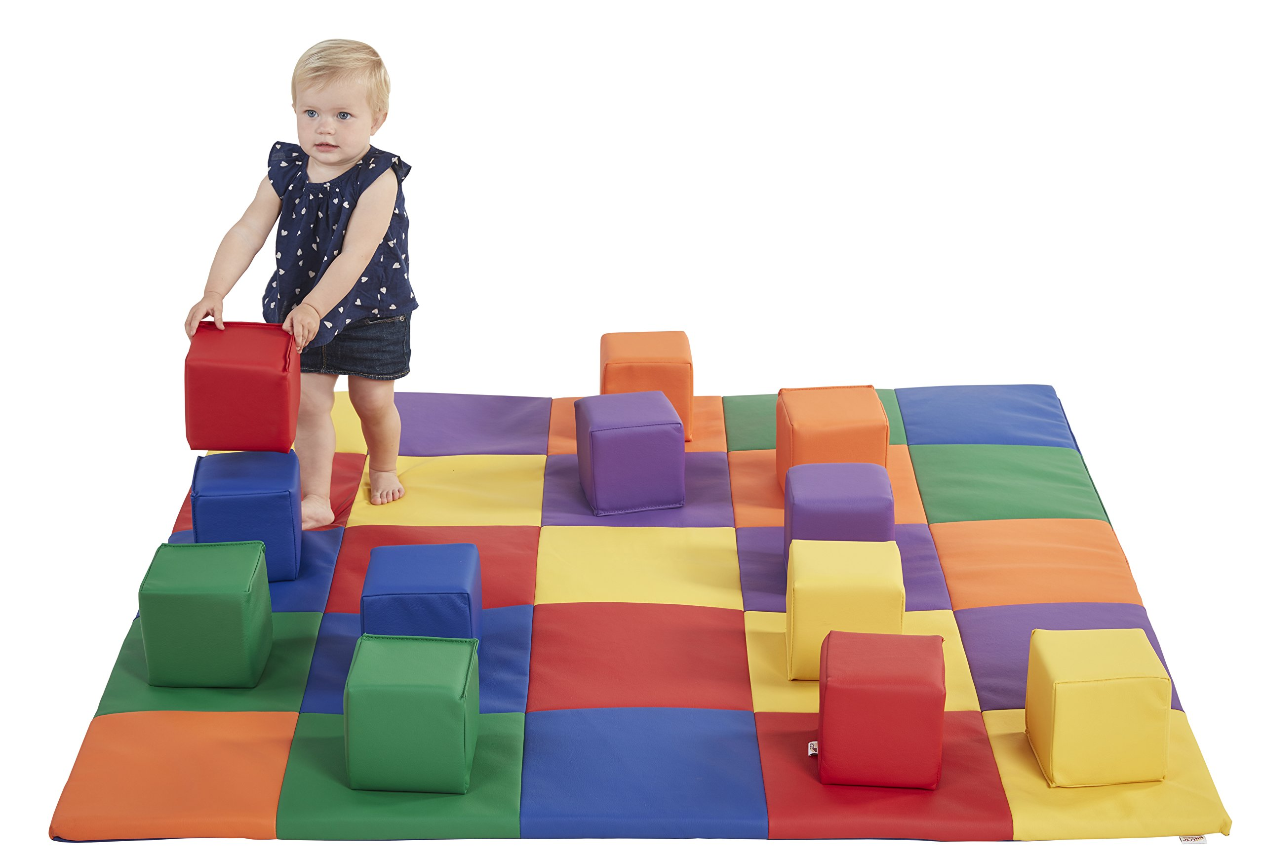 ECR4Kids Softzone Patchwork Toddler Play Mat with 12 Soft Blocks, Primary by ECR4Kids