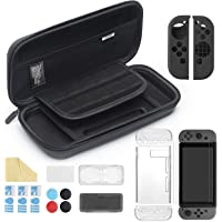 iAmer 11 en 1 Accesorios para Nintendo Switch, con Funda Switch+Funda Transparente+3 Protector de pantalla+Funda de Silicona+Thumb Grips+2 Estuche De Juegos+Paño de limpieza