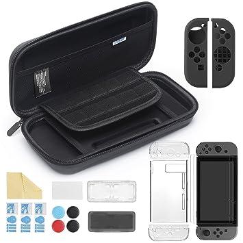iAmer 11 en 1 Accesorios para Nintendo Switch, con Funda Switch+Funda Transparente+3 Protector de Pantalla+Funda de Silicona +4 Pulgar Grips+2 Estuche ...