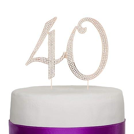 Amazon.com: 40 decoración para tarta para 40 cumpleaños, o ...