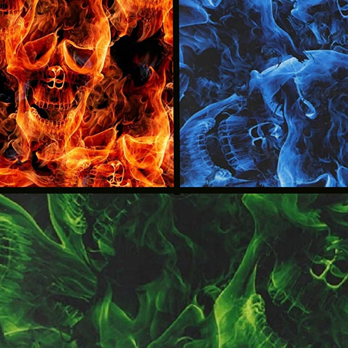 Hydrographic Film Full Kit Flaming Alien Skulls