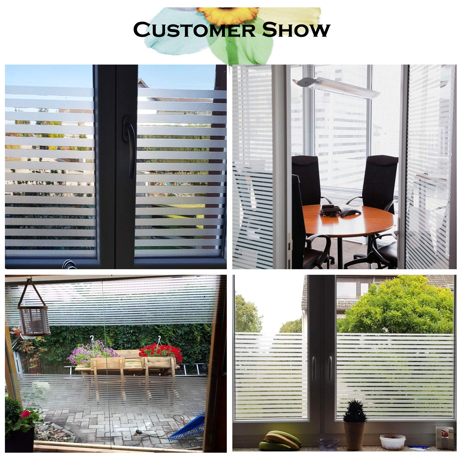 Bloss PVC Home Frosted Sticker Glass Film Privacy Scroll Flower Decorative Self Adhesive Removeable Window Cling Vinyl//Heat Control//Anti UVfor Home and Office 17.7-by-78.7 Inch