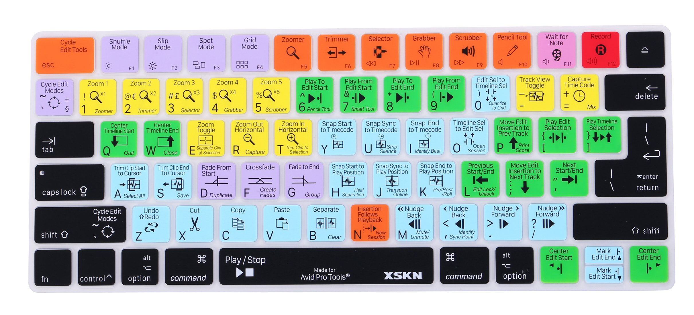 XSKN Magic Keyboard Avid Pro Tools Shortcut Keyboard Cover, Durable Avid Hotkeys Silicone Keyboard Skin for Apple Magic Keyboard MLA22LL/A by XSKN (Image #1)