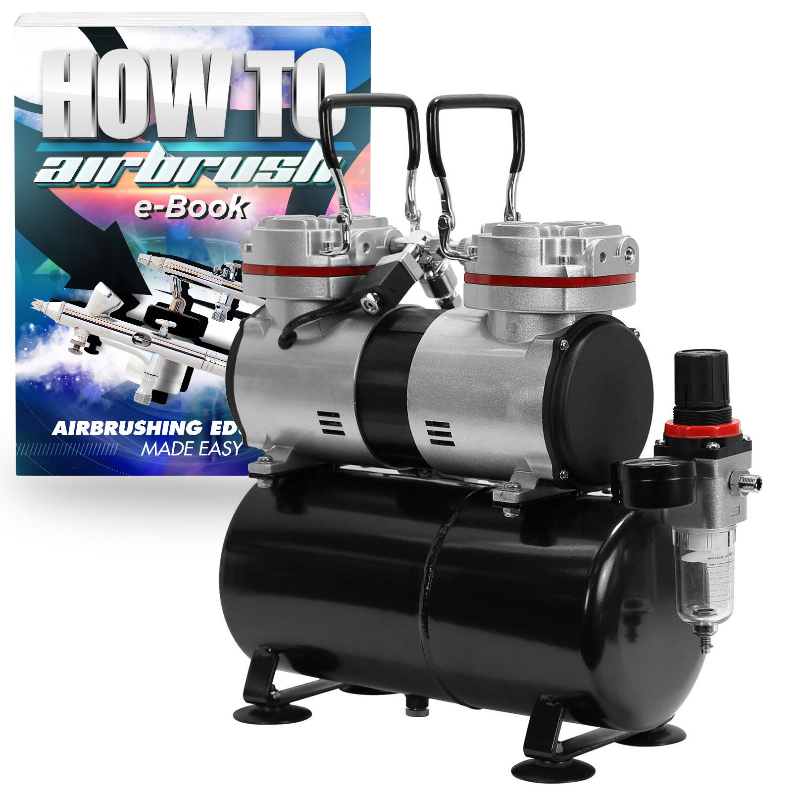 PointZero Pro Airbrush Air Compressor Twin Piston w/ Tank 1/3 HP