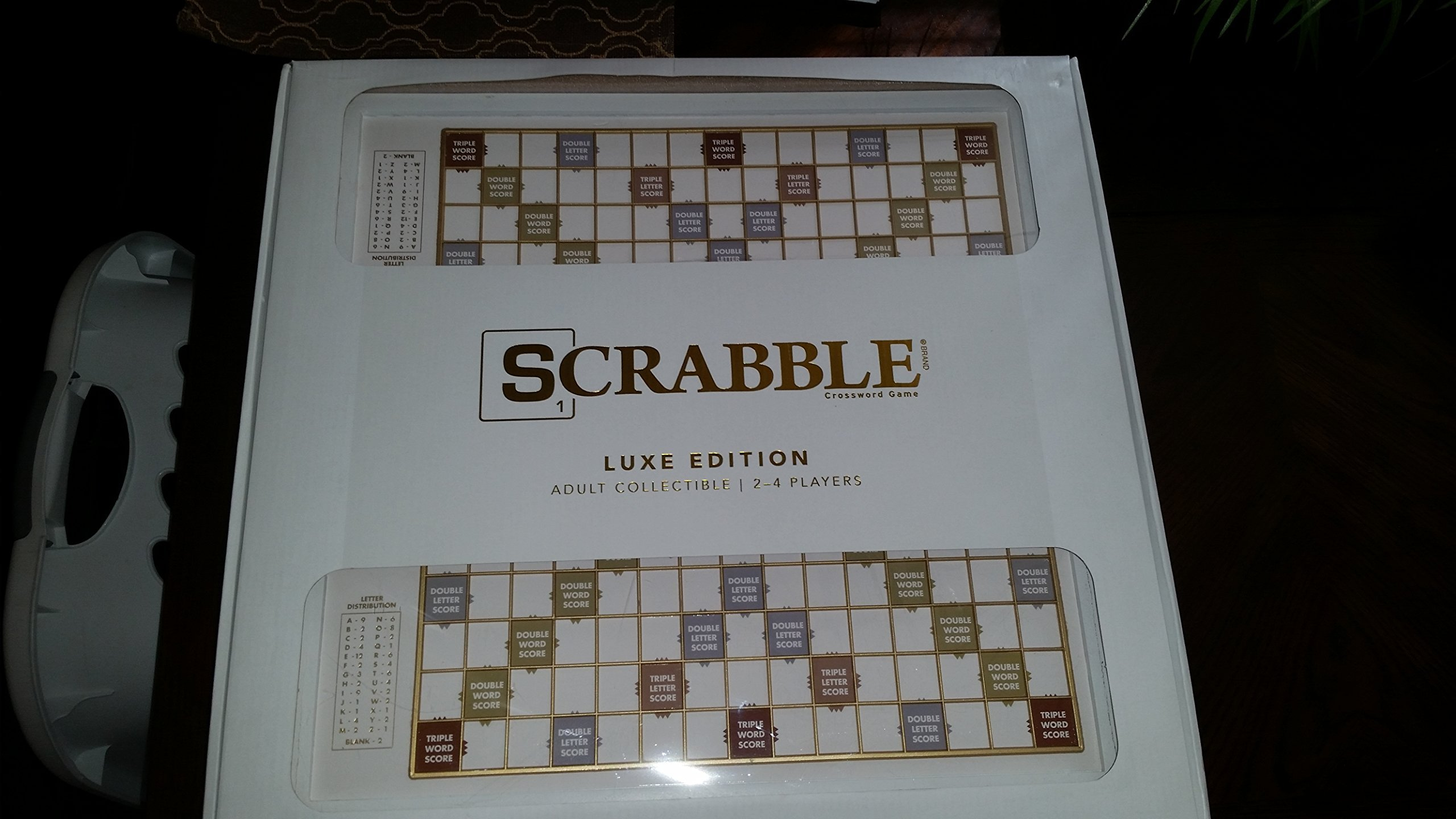 Scrabble Luxe Collectors Board Game - White and Gold Foil Game Board with White Wooden Cabinet