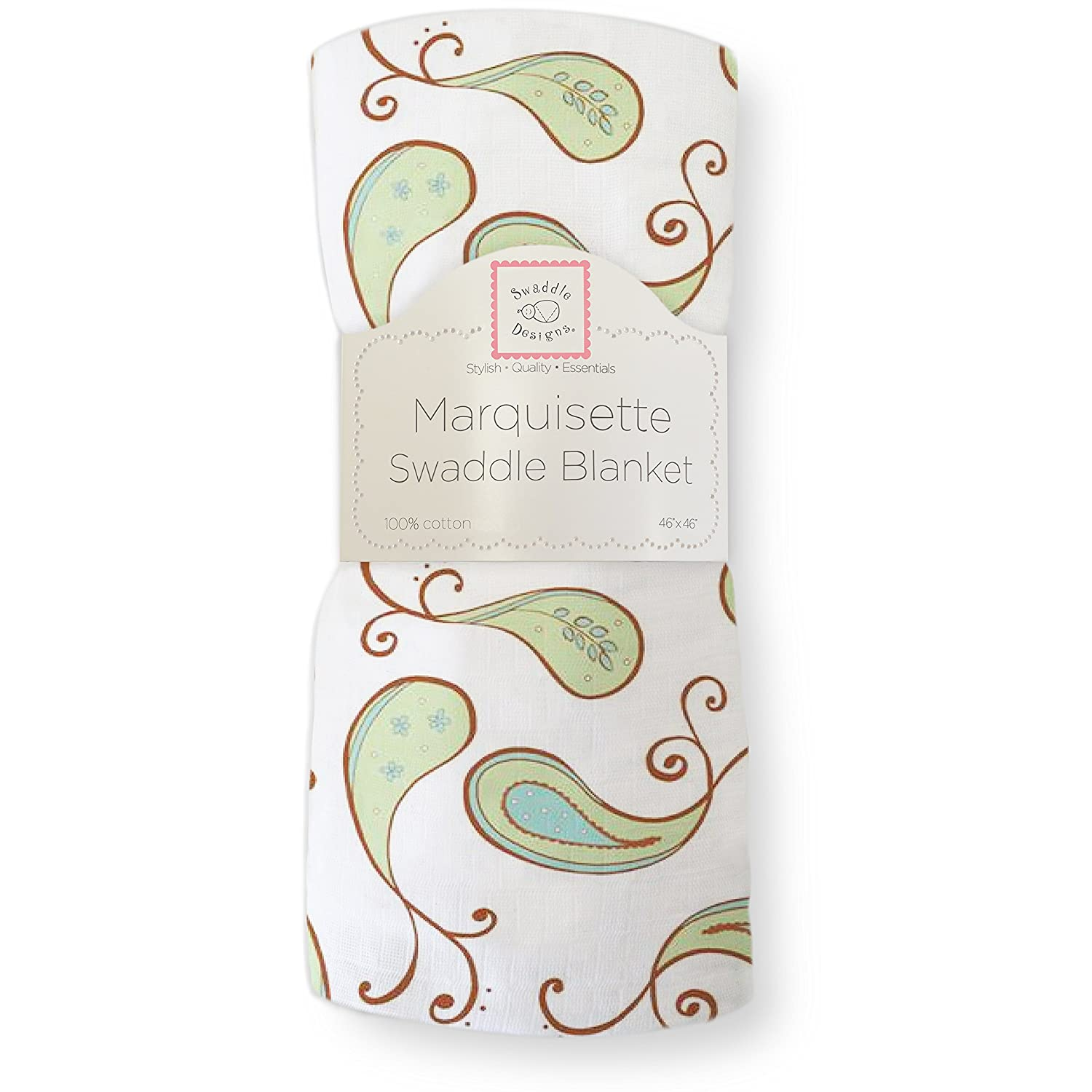 SwaddleDesigns Marquisette Swaddling Blanket, Premium Cotton Muslin, Pastel Pink Paisley SD-122PP