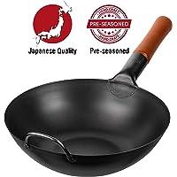 "Pre-Seasoned Carbon Steel Wok Pan – 12"" Woks and Stir Fry Pans - Chinese Wok with Flat Bottom Pow Wok - Traditional Chinese Japanese Woks - Black Steel Wok"