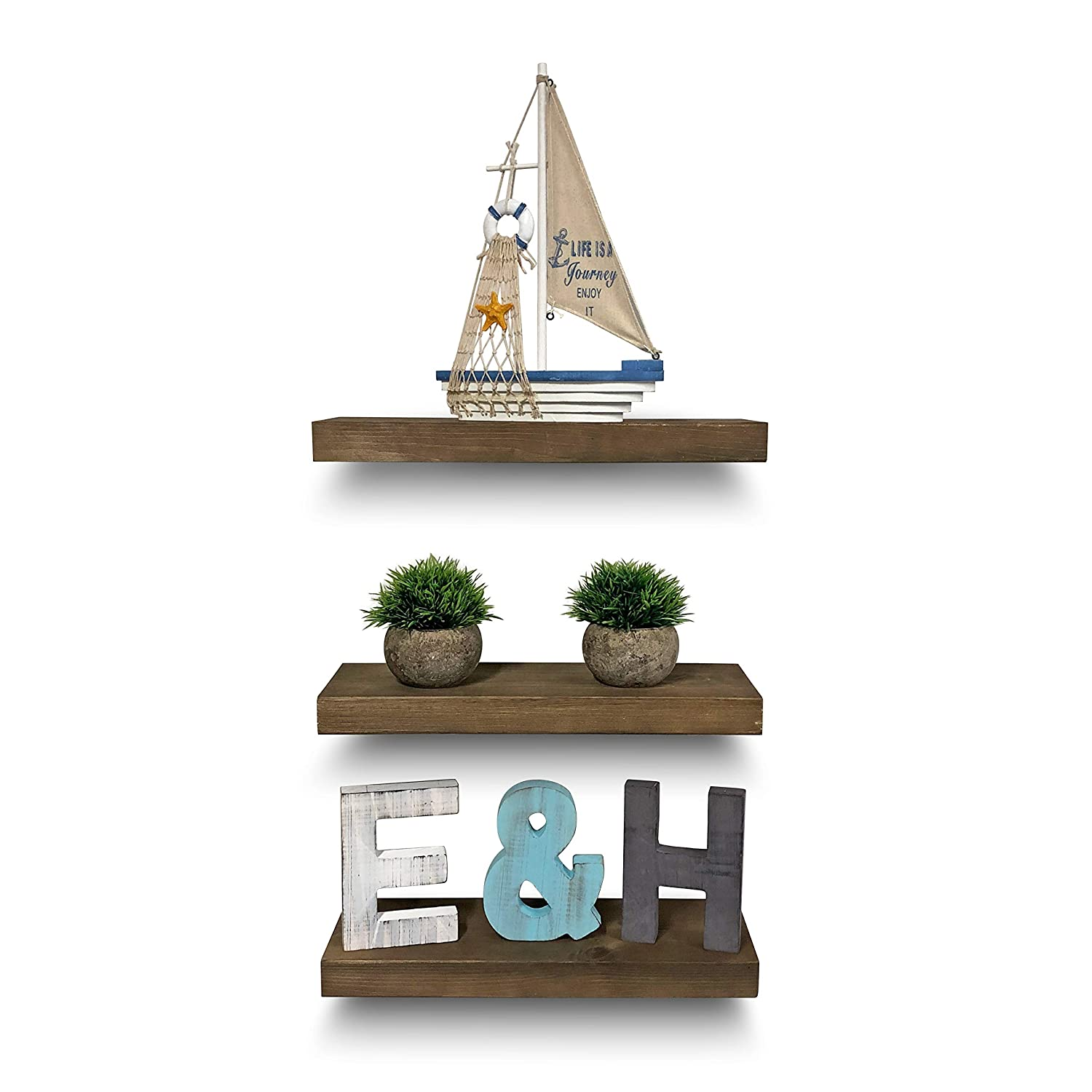 "Rustic Farmhouse 3 Tier Floating Wood Shelf - Real Hardwood Floating Wall Shelves (Set of 3), Hardware and Fasteners Included (White Oak, 16"")"