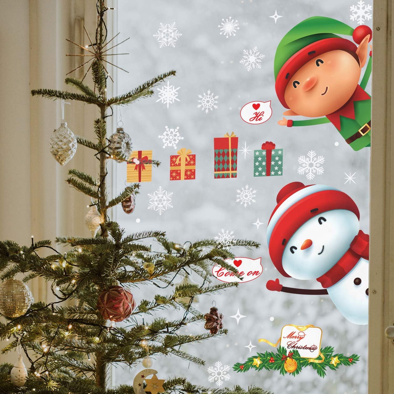 Fournitures F/ête de no/ël pour la D/écoration de F/ête de No/ël - LUTER Stickers Fenetre PVC pour No/ël Stickers Muraux Fen/être 50+ Pcs