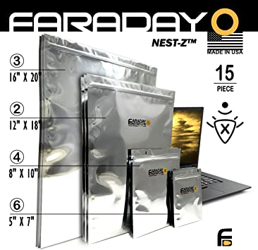 """6 Faraday Cage Bags 8X10/"""" EMP protection Mil-Spec Prepper Survivalist Best avail"""