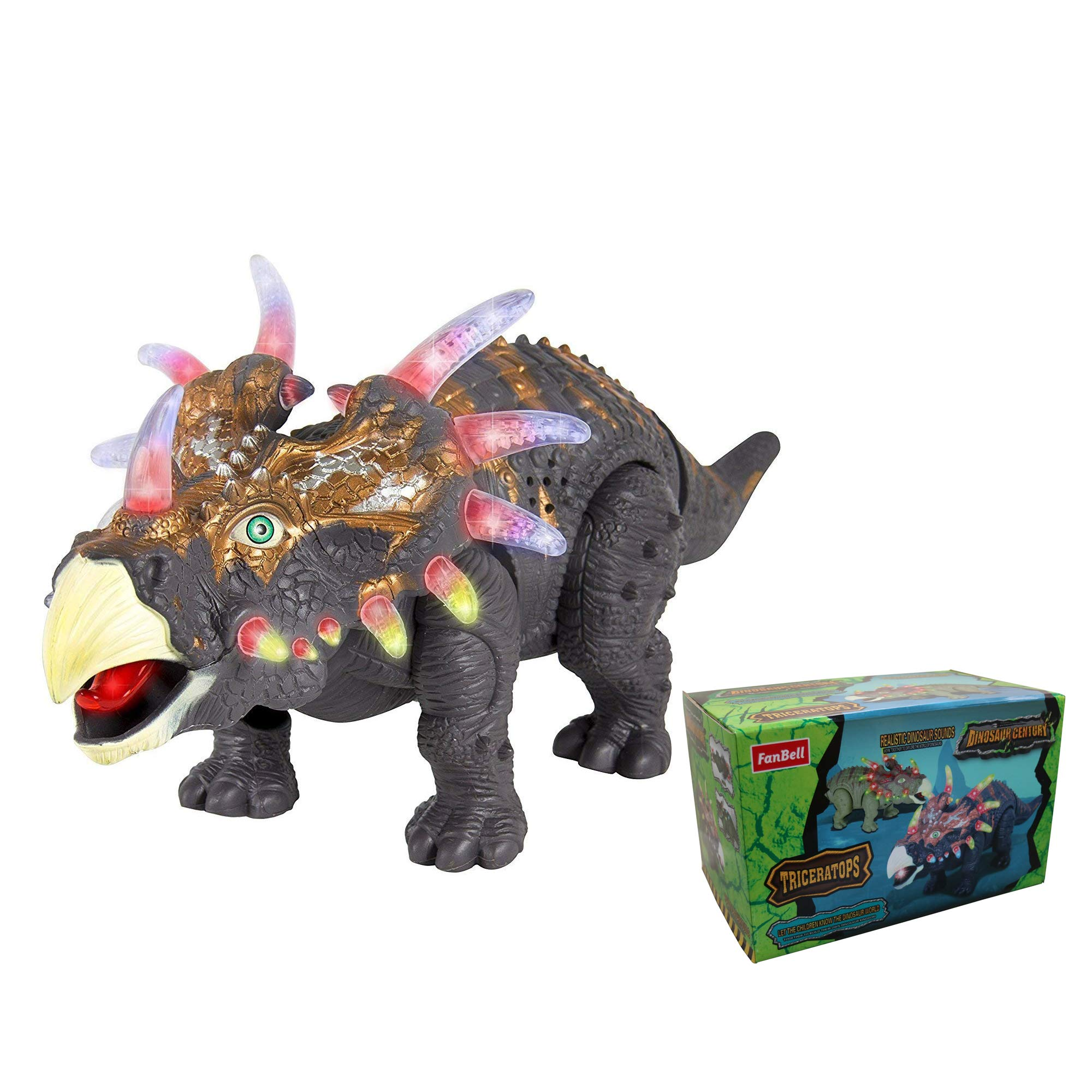 FanBell Walking Triceratops Dinosaur Toy Figure with Multicolor Lights & Loud Roar Sounds for for Boys and Girls Over 3 Years Old,Real Movement by FanBell (Image #1)
