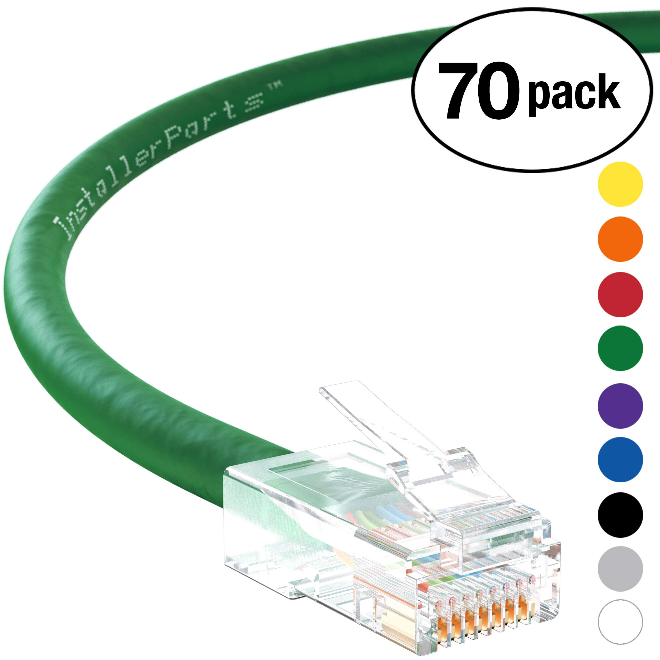 InstallerParts (70 Pack) Ethernet Cable CAT6 Cable UTP Non-Booted 15 FT - Green - Professional Series - 10Gigabit/Sec Network/High Speed Internet Cable, 550MHZ by InstallerParts