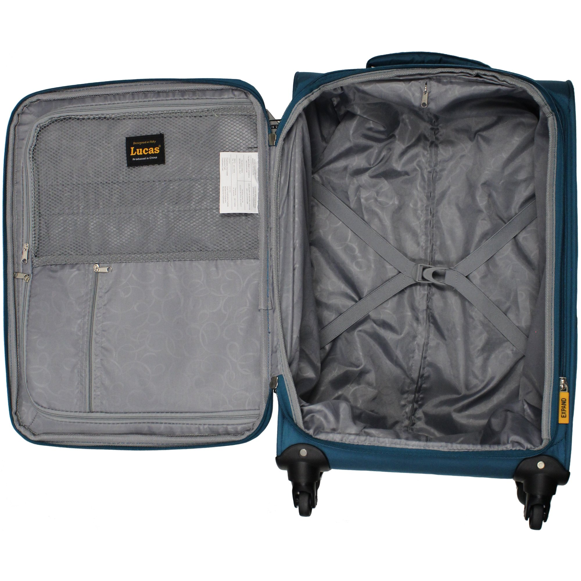 Lucas Luggage Ultra Lightweight Carry On 20 inch Expandable Suitcase With Spinner Wheels (20in, Teal) by Lucas (Image #6)