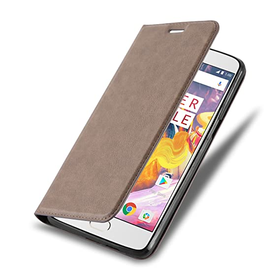 new concept f33ad e90bd Cadorabo Book Case Works with OnePlus 3 / 3T in Coffee Brown – with  Magnetic Closure, Stand Function and Card Slot – Wallet Etui Cover Pouch PU  ...