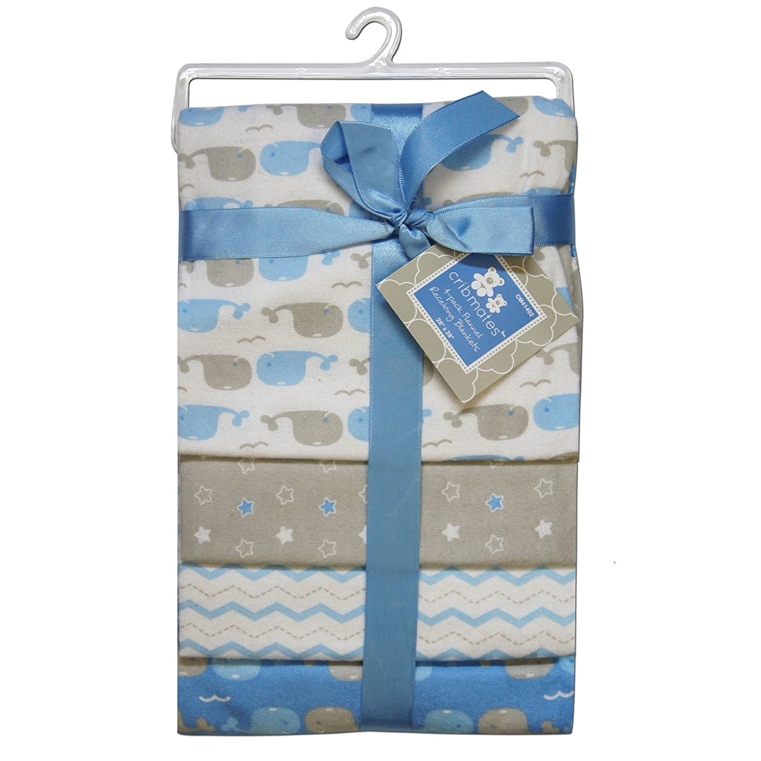 CRIBMATES Petite L'Amour Receiving Blankets Baby Boys Whale Pals Quest Products Baby REGE41402