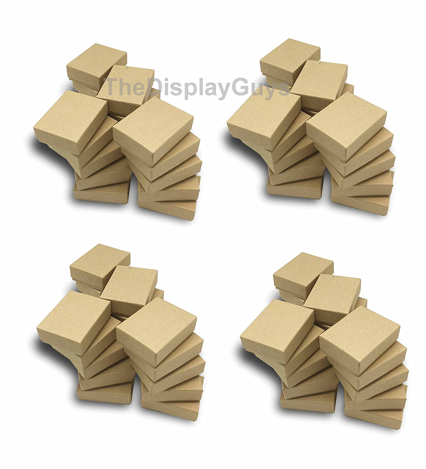 2 1//8x1 5//8x3//4 inches #11 The Display Guys~ Pack of 100 Cotton Filled Cardboard Paper Kraft Jewelry Box Gift Case Kraft Brown
