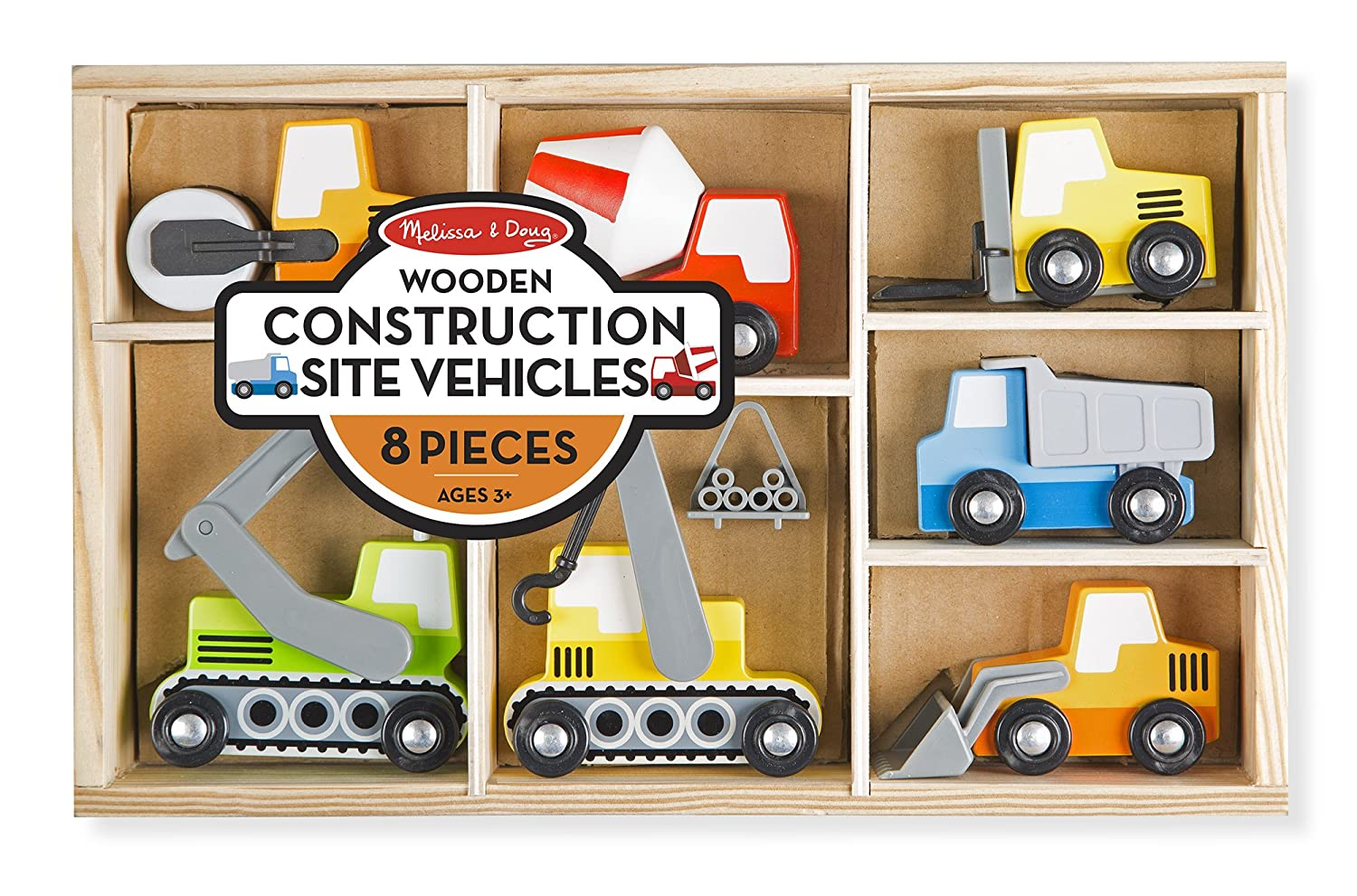 Melissa & Doug Wooden Construction Site Vehicles With Wooden Storage Tray (8 pcs) 3180