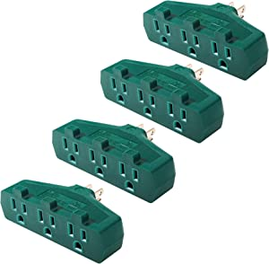 BTU 3 Outlet Plug Adapter, Grounded Wall Tap, Heavy Duty 3 Way Plug, Turn One Outlet Into 3 Power Strip, Green (Pack of 3)