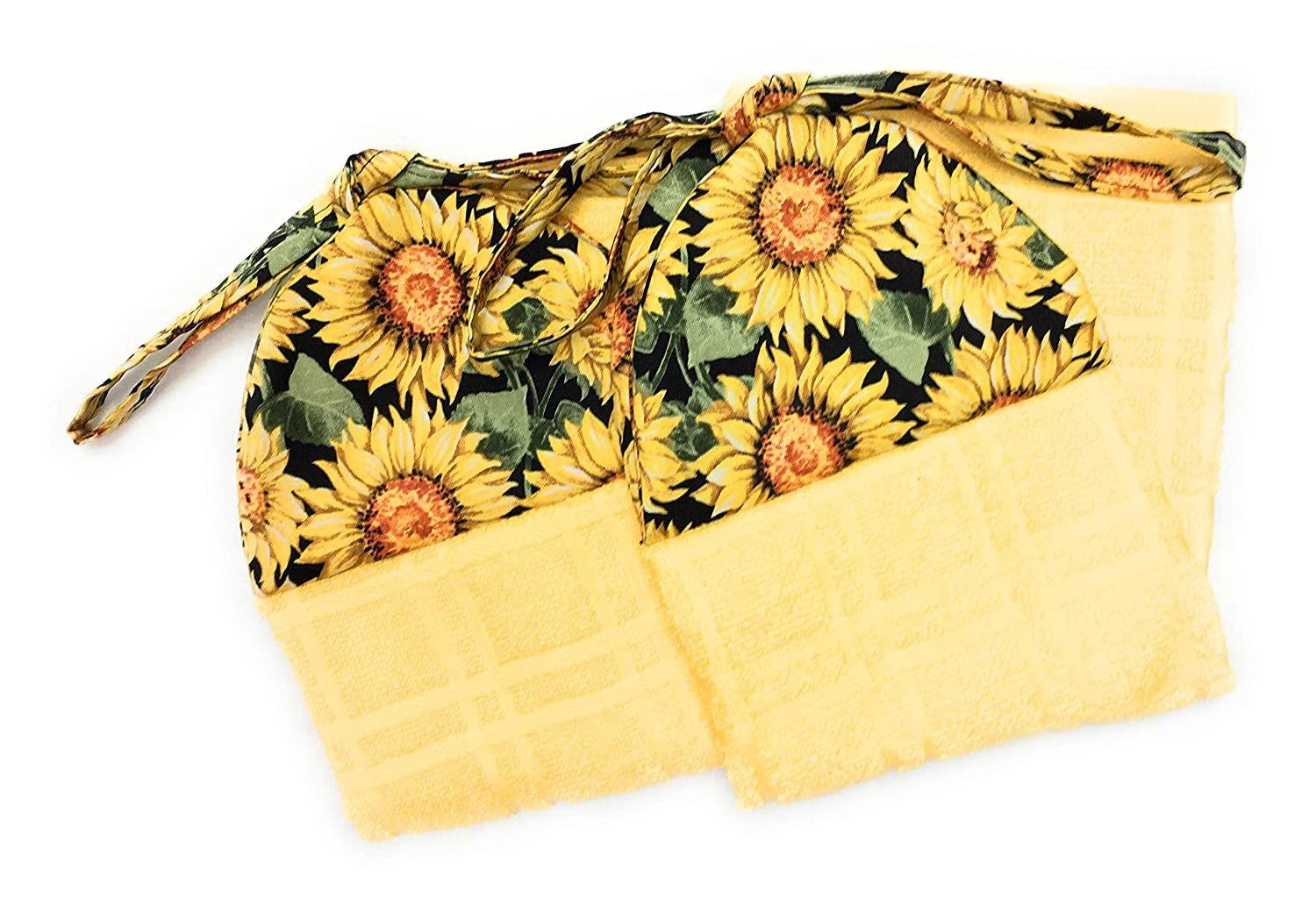 Set of 2 Yellow and Orange Sunflowers With Green Leaves on Black Fabric Ties On Stays Put Yellow Kitchen Hanging Loop Hand Dish Towel