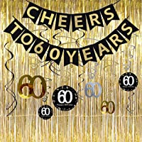 60th Birthday Party Decorations KIT - Cheers to 60 Years Banner, Sparkling Celebration 60 Hanging Swirls,Gold Foil Fringe Curtain, Perfect 60 Years Old Party Supplies 60th Anniversary Decorations